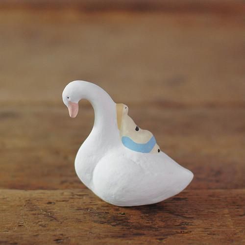 【にしおゆき】陶人形「野の白鳥」