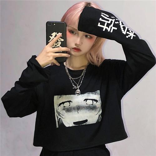 【トップス】新作韩版ins原宿レトロカートゥーンプリントゆったりショートTシャツ