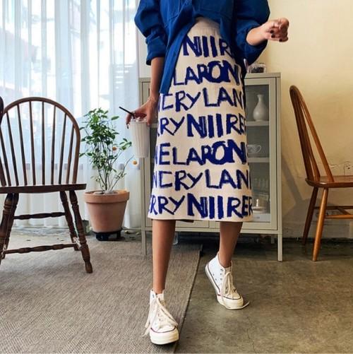 レタリングニットスカート ニットスカート スカート 韓国ファッション
