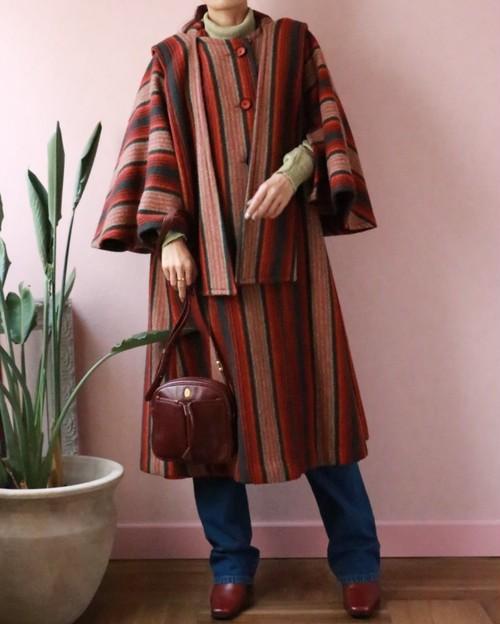 60s hooded cape coat