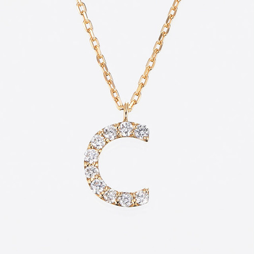 Initial K18YG Diamond【C】Pendant Necklace (ダイヤモンド イニシャル【C】ペンダントネックレス)