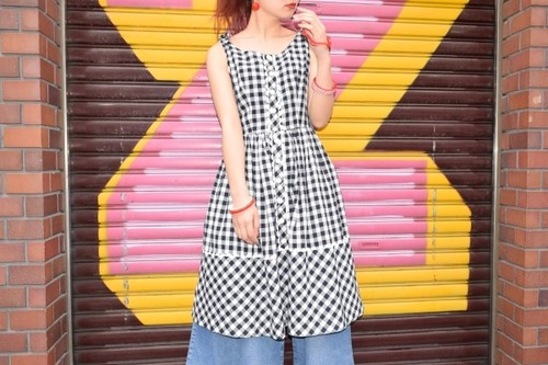 VINTAGE black×white check dress front big button