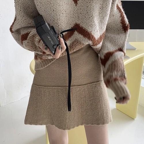 2色 ニット プリーツ ミニスカート 秋 冬 デート ガーリー レディース ファッション 韓国 オルチャン