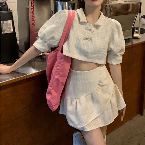 【set】美人度アップスウィート2点セットパフスリーブトップス+スカート2色 M-0429