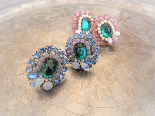 vintage earrings turquoise bijou <ER-RBbl>