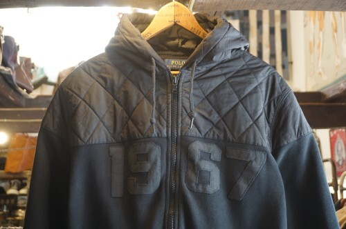 "Ralph Lauren black zip-up Hoodie with patch ""1967"""
