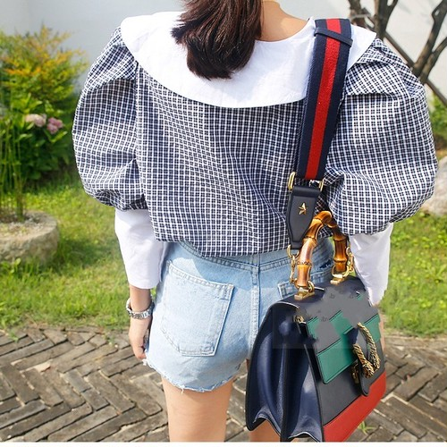【新作10%off】plaid big puff sleeve blouse 2844