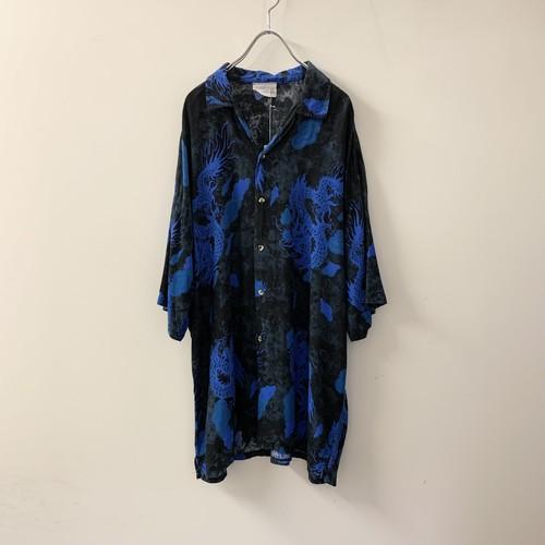 龍 デザインシャツ オープンカラー ブルー メンズ 古着
