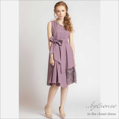 4color サッシュベルト付き裾アシメレースミドル丈ワンピースDorryDollドリードールドレス