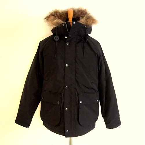 Thinsulate Field Jacket with Racoon Fur Black
