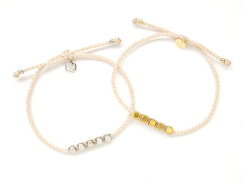 Brass Beads Bracelet/White (Gold/Silver)[真鍮ブレスレット]