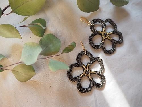 bigflower rame pierce/earrings