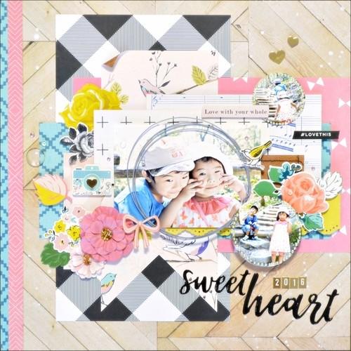 スクラップブッキング 12インチキット 「sweet heart」