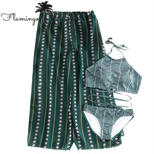 【FlamingoBeach】leaf 3set bikini