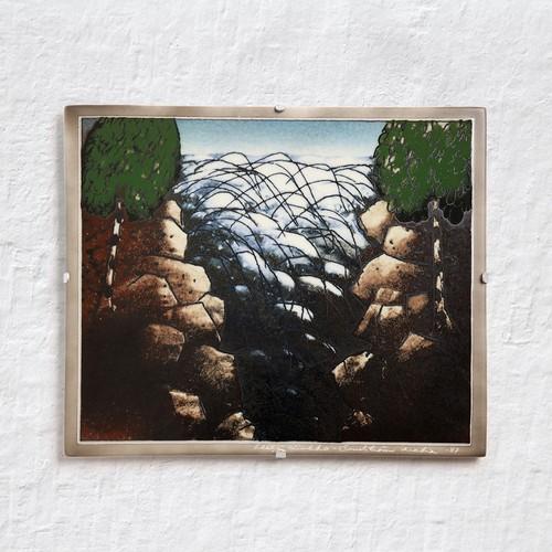 ARABIA アラビア Helja Liukko-Sundstrom ヘルヤ リウッコ スンドストロム 早瀬の陶板(オリジナル紙箱入り) 北欧ヴィンテージ