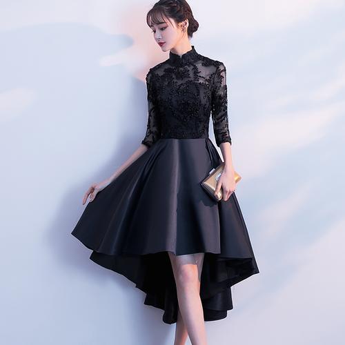 フィッシュテール ドレス 七分袖 シースルー チャイナ風 結婚式 お呼ばれ パーティー(F027)