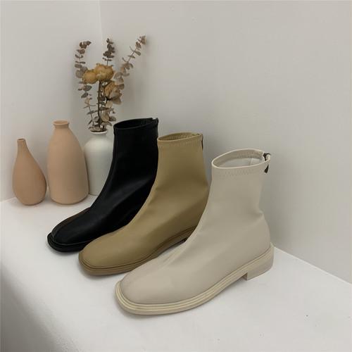シンプルやわらかブーツ スクエアトゥ ローヒール バックジップ 合皮 革 秋冬 防寒 黒 ブラック ベージュ 白 ホワイト 痛くない 疲れにくい 韓国