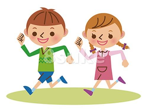 イラスト素材:元気に走る幼い男の子と女の子(ベクター・JPG)