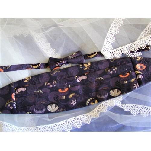 Obi bow tie and cummerbund set #04 ☆和柄 蝶ネクタイ&ベルト・セット☆