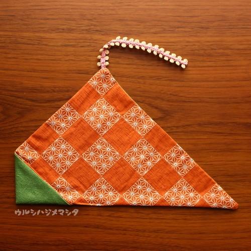 リバーシブル箸袋(抹茶×麻)/REVERSIBLE CHOPSTICKS BAG(DarkGreen×Orange)