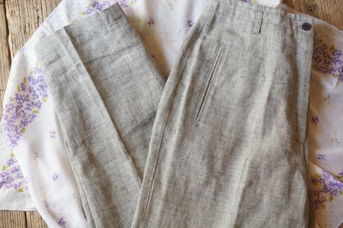 90's nep gray linen Slacks