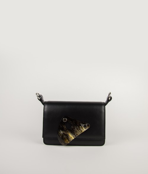 CROSSBODY S BASIC STRAP KNOTTED HANDLE _BLACK_with HORN