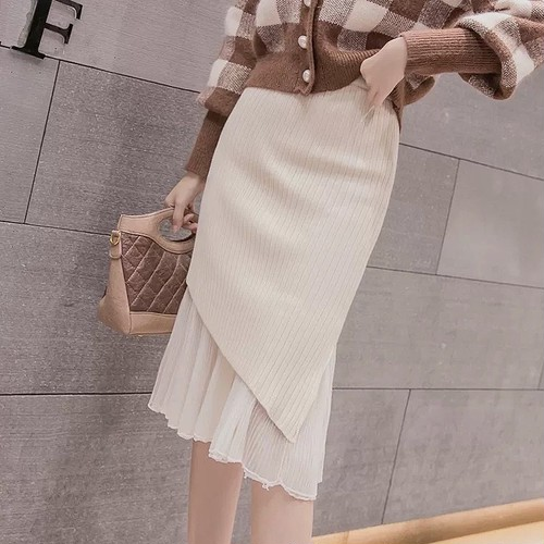 knit tulle skirt 2color