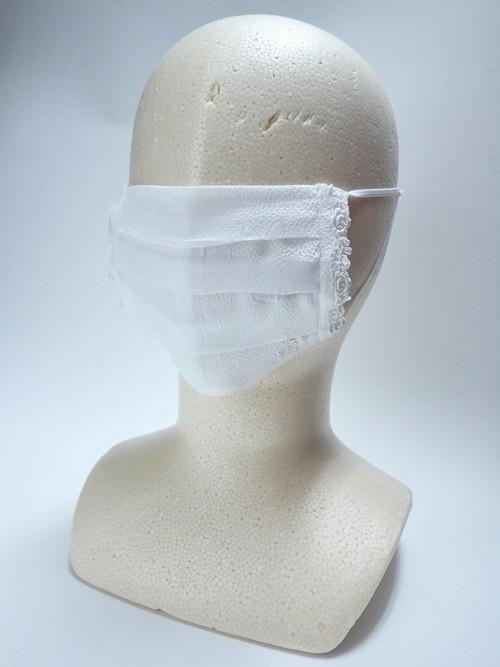 リユース可 レース装飾入りプリーツデザイン布マスク