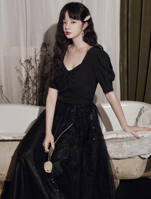 ブラック ロングドレス メッシュ パーティードレス TM0191