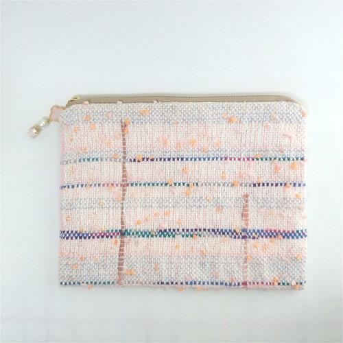 手織りのフラットポーチ大(ピンク)