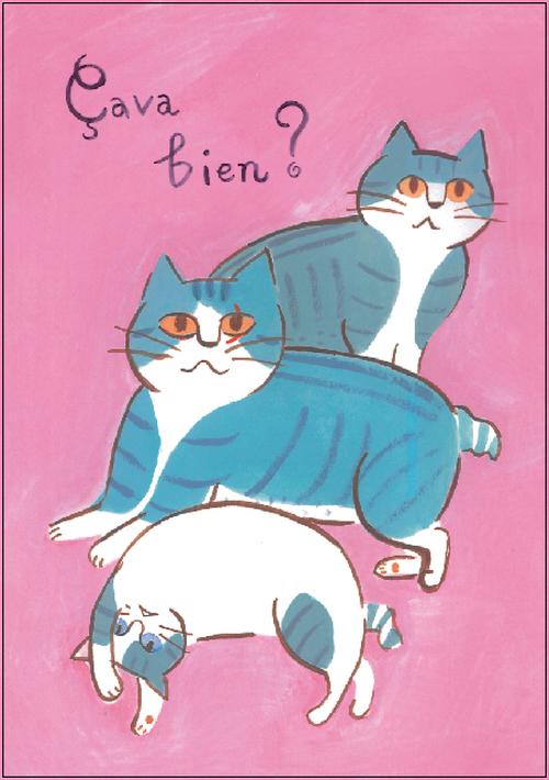 ポストカード 猫(ピンク)
