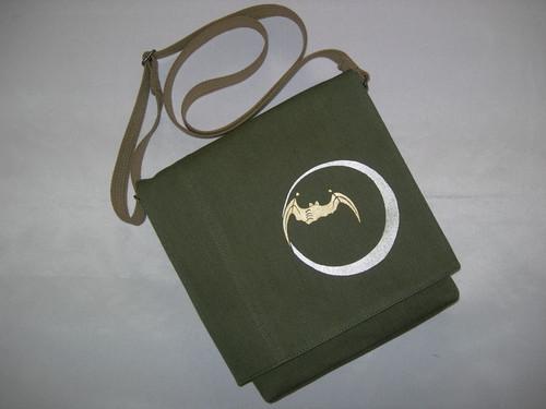 カラーデニムオリーブ(赤耳)製 蝙蝠 ショルダーバッグ