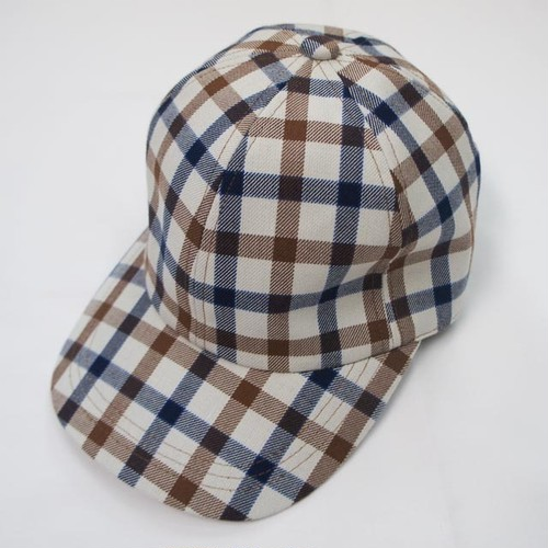 Casual Check Cap Off White/ Navy /Brown