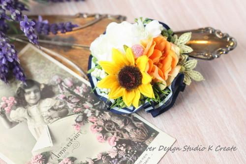 向日葵と薔薇のプチ・コサージュ(ヘッドドレス可)