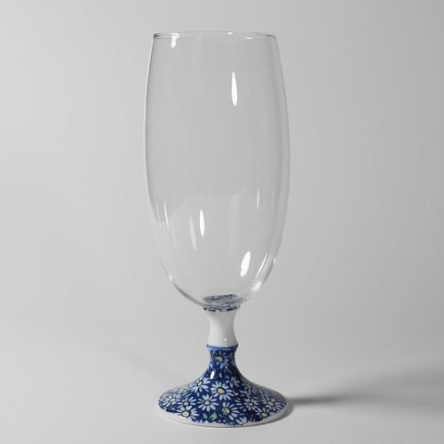 ビールグラス (青小菊) 20-412