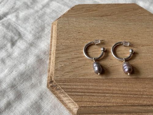 〈vintage silver925〉gray pearl hoop pierce