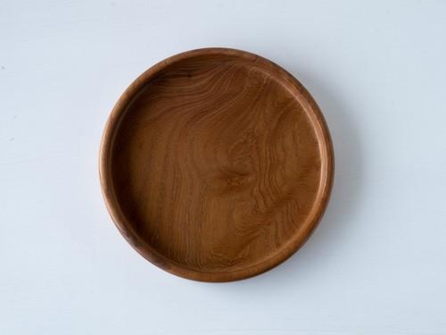 【現品限り】けやき よい木目の小さな丸盆  直径18 cm 無塗装 一人用