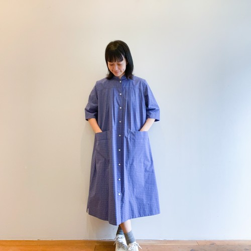 C-71111 Tattersall Mao Collar Dress