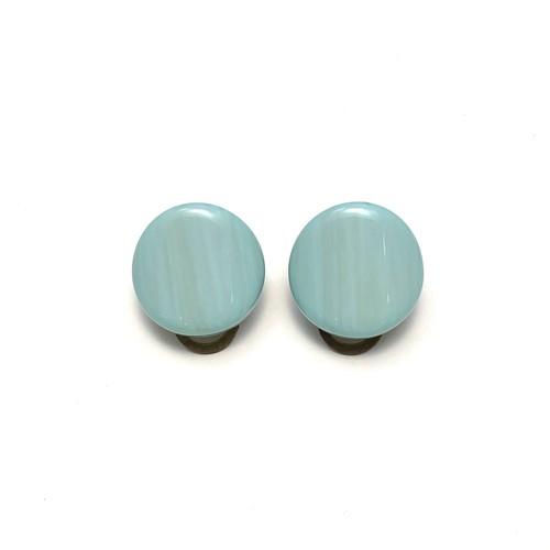 VOGLINE ボタン型イヤリング blue