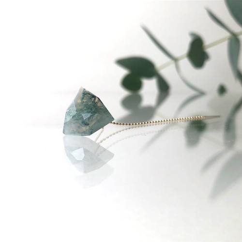 One Side Earring ~ Moss agate ~