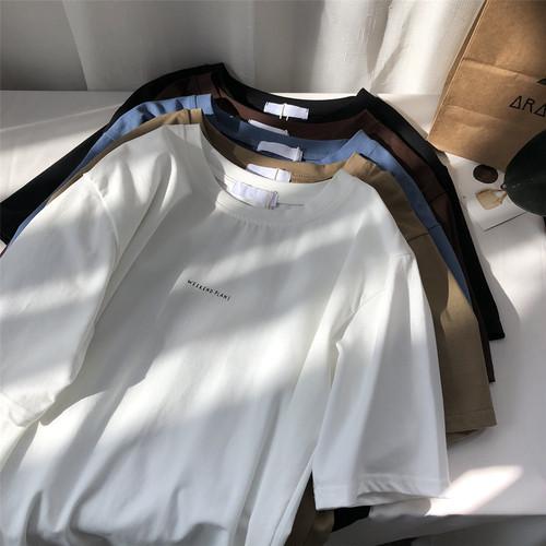 5色/シンプルルーズTシャツ ・2198