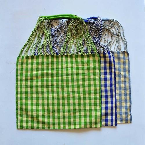 メキシコ 織物バッグ チェック柄 - 2
