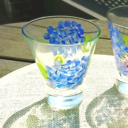 【紫陽花】5月の花 アジサイあじさい絵付けグラス1個/父の日ギフト・誕生日プレゼント
