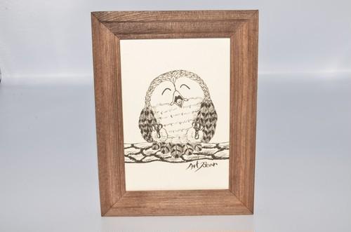 フクロウ かわいい イラスト 1羽 アート プリント 送料無料