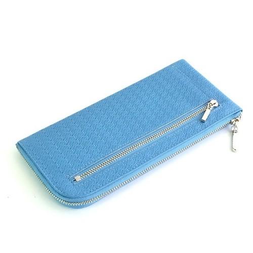 <送料無料>薄くて軽くて大容量な長財布 14ZipWallet 牛革レース型押し スカイブルーSqueeze