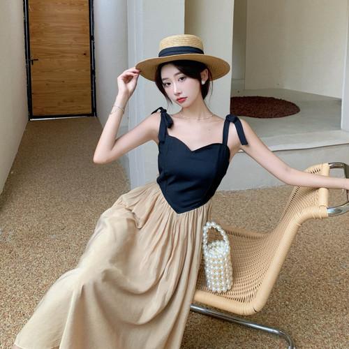【dress】人気を独占中ファッションレトロ切り替え着痩せキャミワンピース M-0446