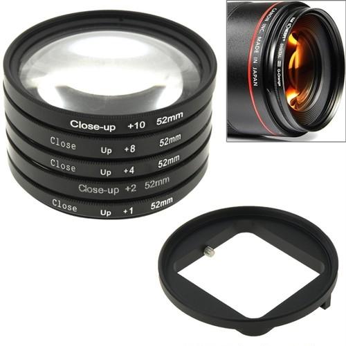 Japan Pro Video・GoPro対応52mm径 マクロ・接写用レンズフィルター5種類 & フィルターアダプタ― セット
