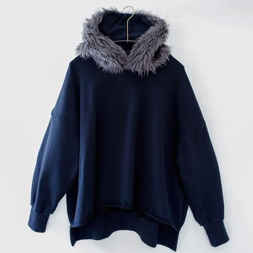 《michirico 2020AW》Fur hoodie / black / F(大人)