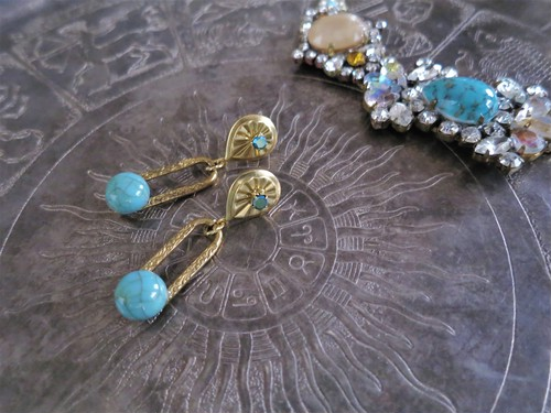 ターコイズピアス vintage earrings turquoise <PE-tqch>
