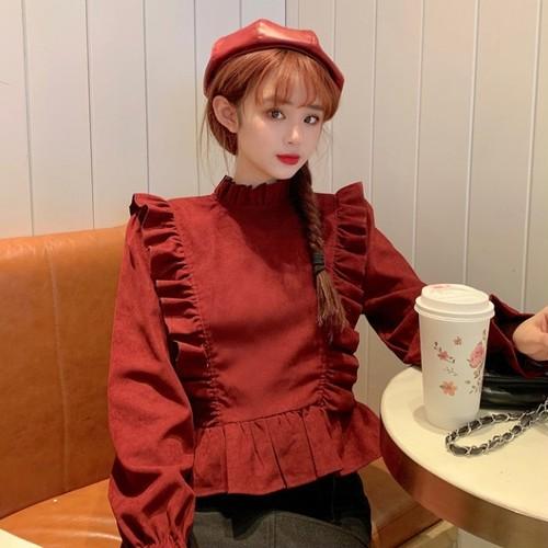 【トップス】レトロスウィートフリルスピーカースリーブスウィートシャツ